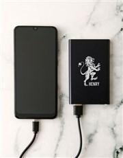 Personalised Lionheart Black Powerbank