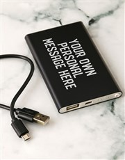 Personalised Message Black Powerbank