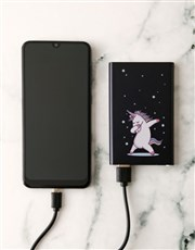 Personalised Unicorn Black Powerbank