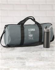 Personalised BeYouTiful Grey Gym Duffel Bag