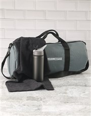 Personalised Message Grey Gym Duffel Bag