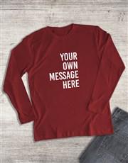 Personalised Red Ladies Long Sleeve Shirt