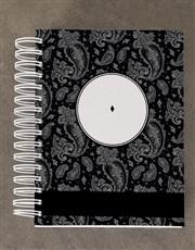 Personalised Black Paisley Diary Set