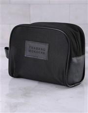 Personalised Mens Ink Black Wash Bag