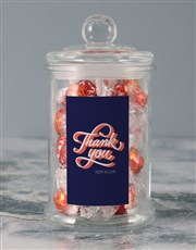 Personalised Thank You Lindt Candy Jar