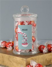 Personalised Get Well Hearts Lindt Candy Jar