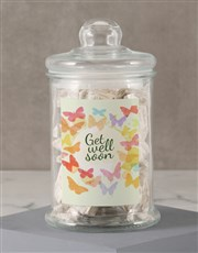 Personalised Get Well Butterfly Nougat Candy Jar