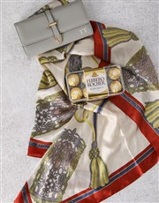 Personalised Grey Purse And Silk Scarf Gift Set
