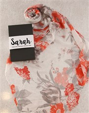 Personalised Red Floral Scarf in Box