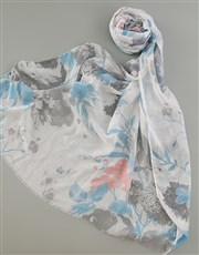 Personalised Blue Floral Scarf in Box
