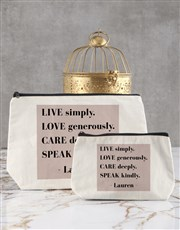 Personalised Live Simply Cosmetic Bag