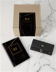 Personalised Black Purse And Notebook