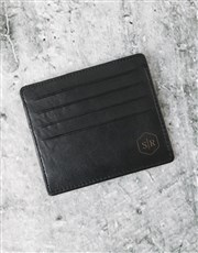 Personalised Professional Black Leather Card Holde