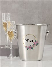 Personalised Name In Floral Design Ice Bucket