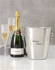 Personalised Two Name And Leaf Ice Bucket