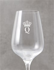 Personalised Crown Monogram Wine Glass