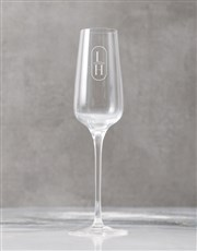 Personalised Modern Initials Champagne Flute