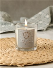 Personalised Shield Initial Candle
