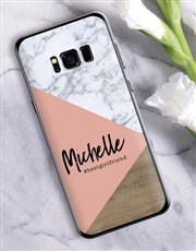 Personalised Blush Marble Samsung Cover