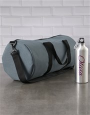 Personalised Silver Aluminium Water Bottle With Na