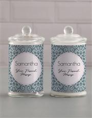 Personalised Blue Pattern Candle Jar