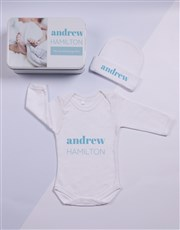 Spoil the new baby boy with a white tin which is p