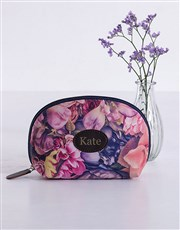 Personalised Watercolour Floral Cosmetic Bag