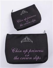 Personalised Chin Up Princess Cosmetic Bag