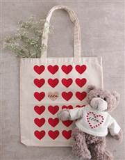 Personalised Heart Teddy in Tote Bag