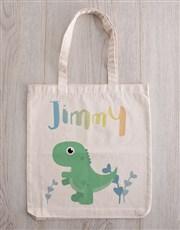 Personalised Dinosaur Teddy in Tote Bag