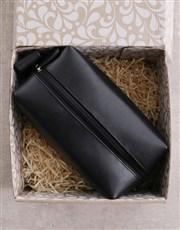 Personalised Leatherette Gents Black Wash Bag