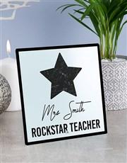 Personalised Rockstar Teacher Glass Tile