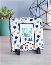Personalised World Teacher Glass Tile