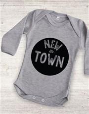 Personalised New In Town Onesie