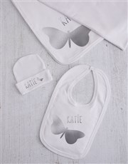 Personalised Silver Butterfly Clothing Gift Set