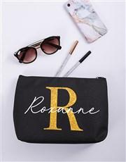 Personalised Glitter Initial & Name Cosmetic Bag