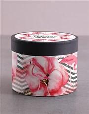 Personalised Flamingo Hat Box with Treats