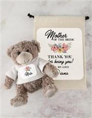 Teddy in Bride Drawstring Bag