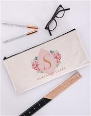 Personalised Floral Initial Pencil Bag