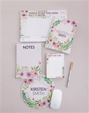Personalised Floral Wonder Take Note Set