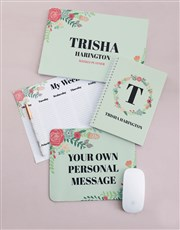 Personalised Floral Wreath Take Note Set