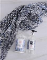 Personalised Scarf and Blue Marakesh Bath Gift Set