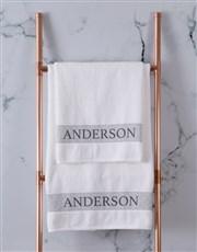 Personalised Scroll White Bath Towel Set