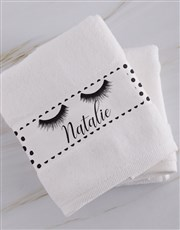 Personalised Stache and Lash White Towel Set