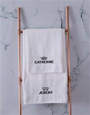 Personalised Royal White Towel Set