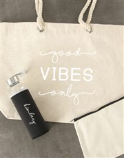 Personalised Good Vibes Waterbottle and Tote