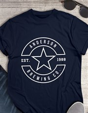 Personalised Navy Brewing T Shirt