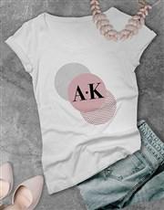 Personalised Trio Circle Initial Ladies T Shirt