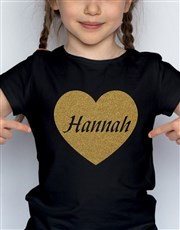 Personalised Glitter Heart Kids T Shirt