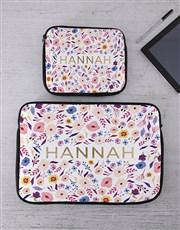 Personalised Floral Tablet or Laptop Sleeve